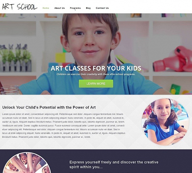 Template Moto CMS HTML  #49042 per Un Sito di Scuola d'Arte New Screenshots BIG