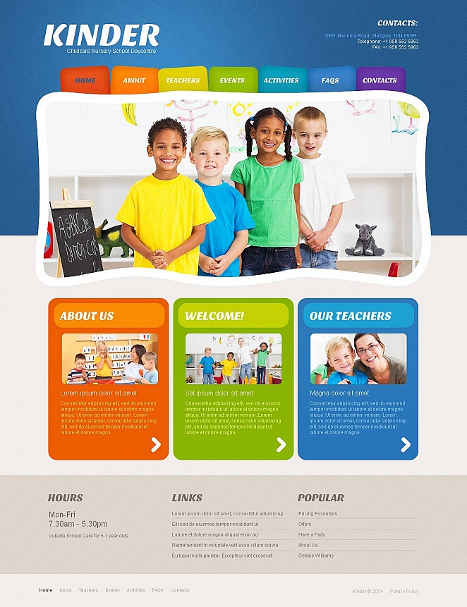 Child Development Center Web Template with Colorful Navigation Menu - image