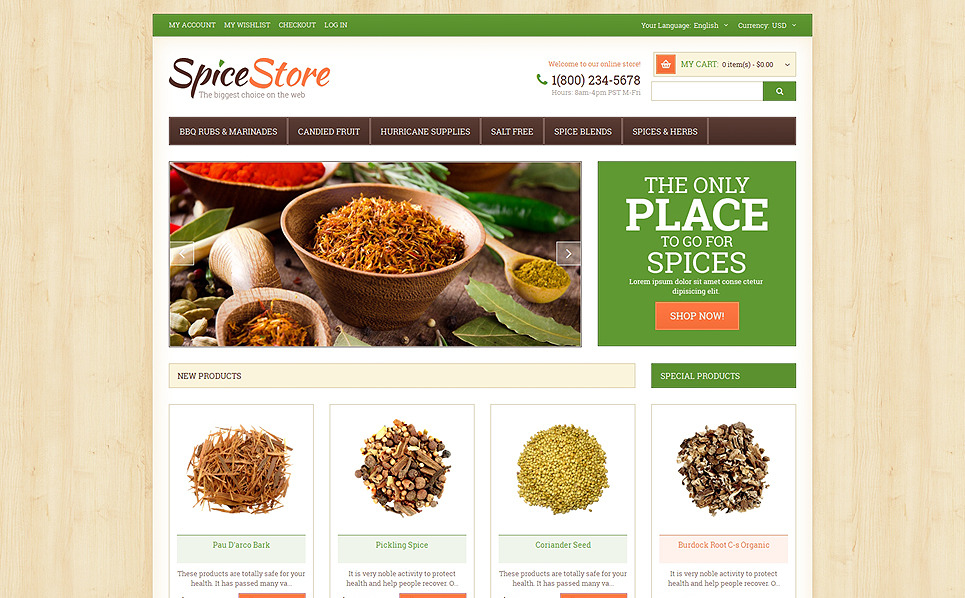 Reszponzív Fűszerboltok Magento sablon New Screenshots BIG