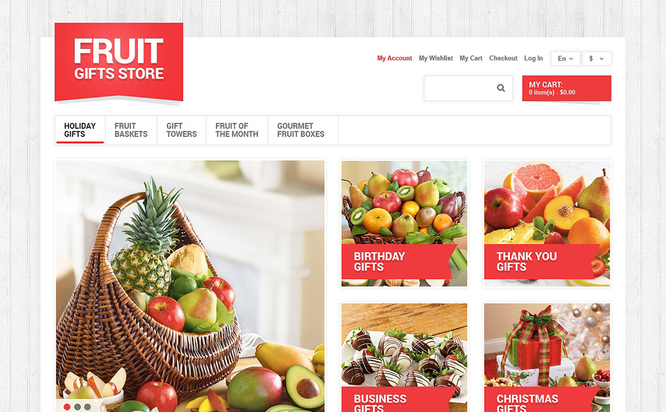 """Magasin des cadeaux de fruits"" thème Magento adaptatif New Screenshots BIG"