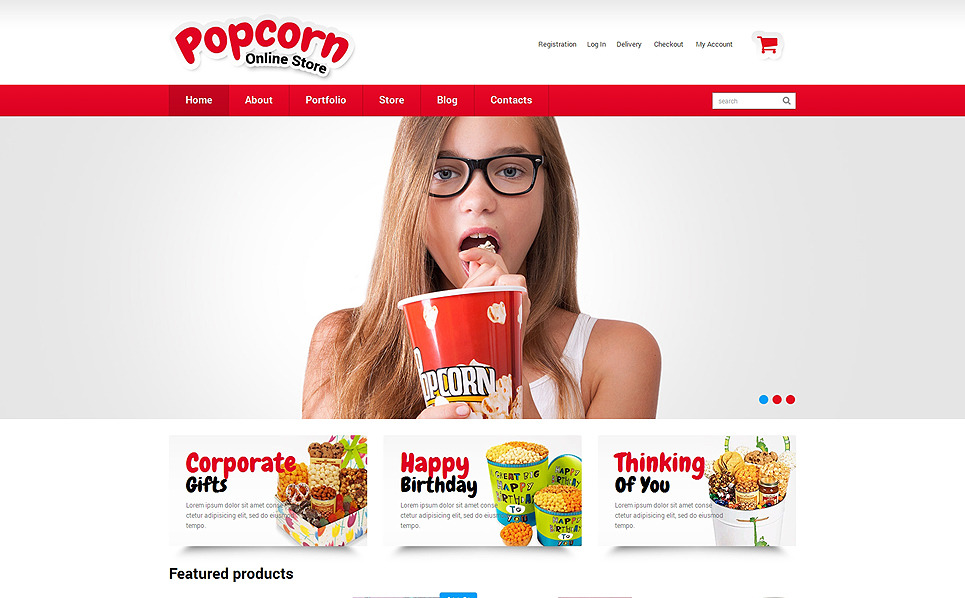 "WooCommerce Theme namens ""Popcorn Online Shop"" New Screenshots BIG"