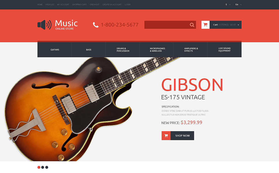 Template OpenCart Responsive #49093 per Un Sito di Negozio Musicale New Screenshots BIG