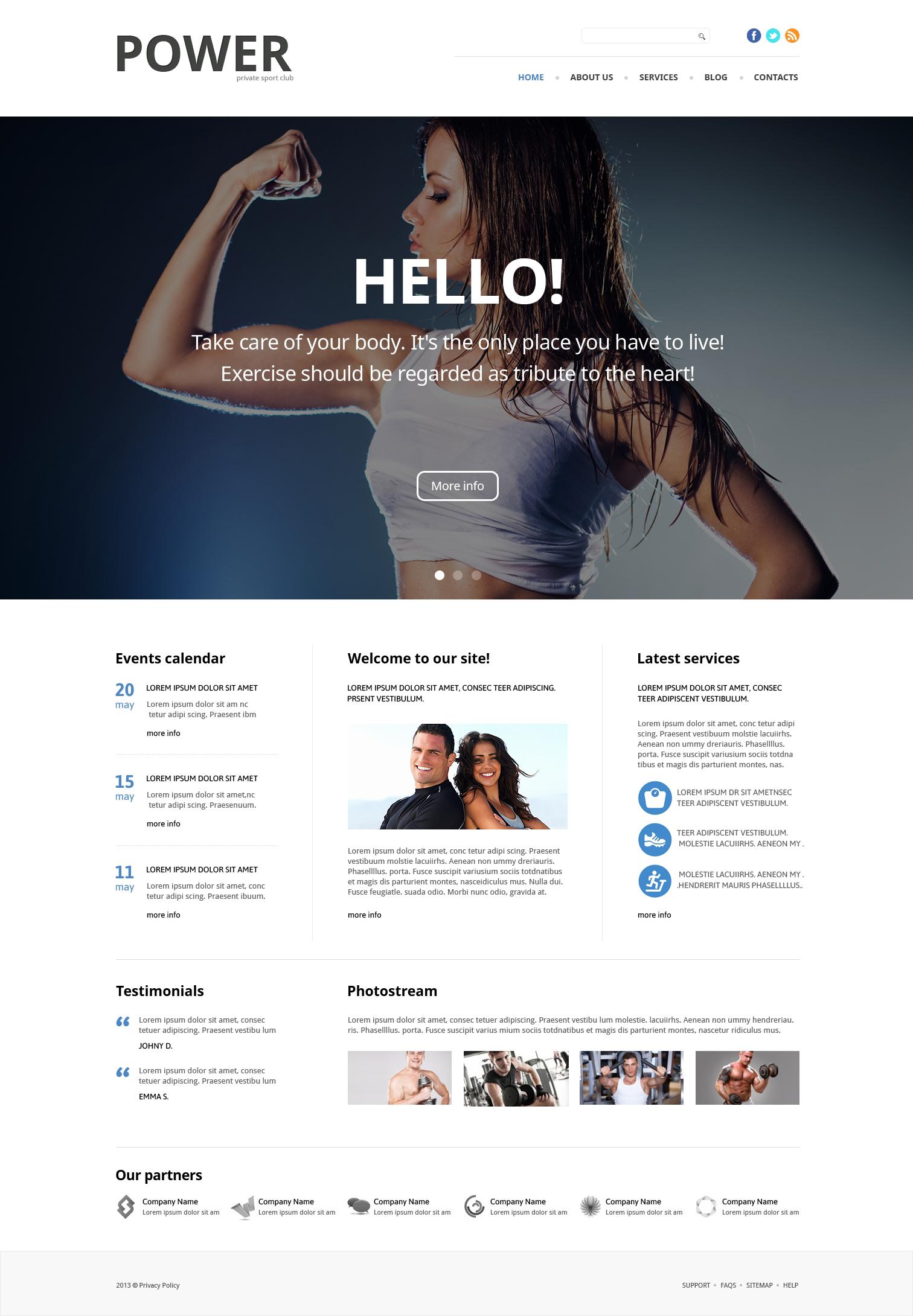 Адаптивний WordPress шаблон на тему bodybuilding templates №49083