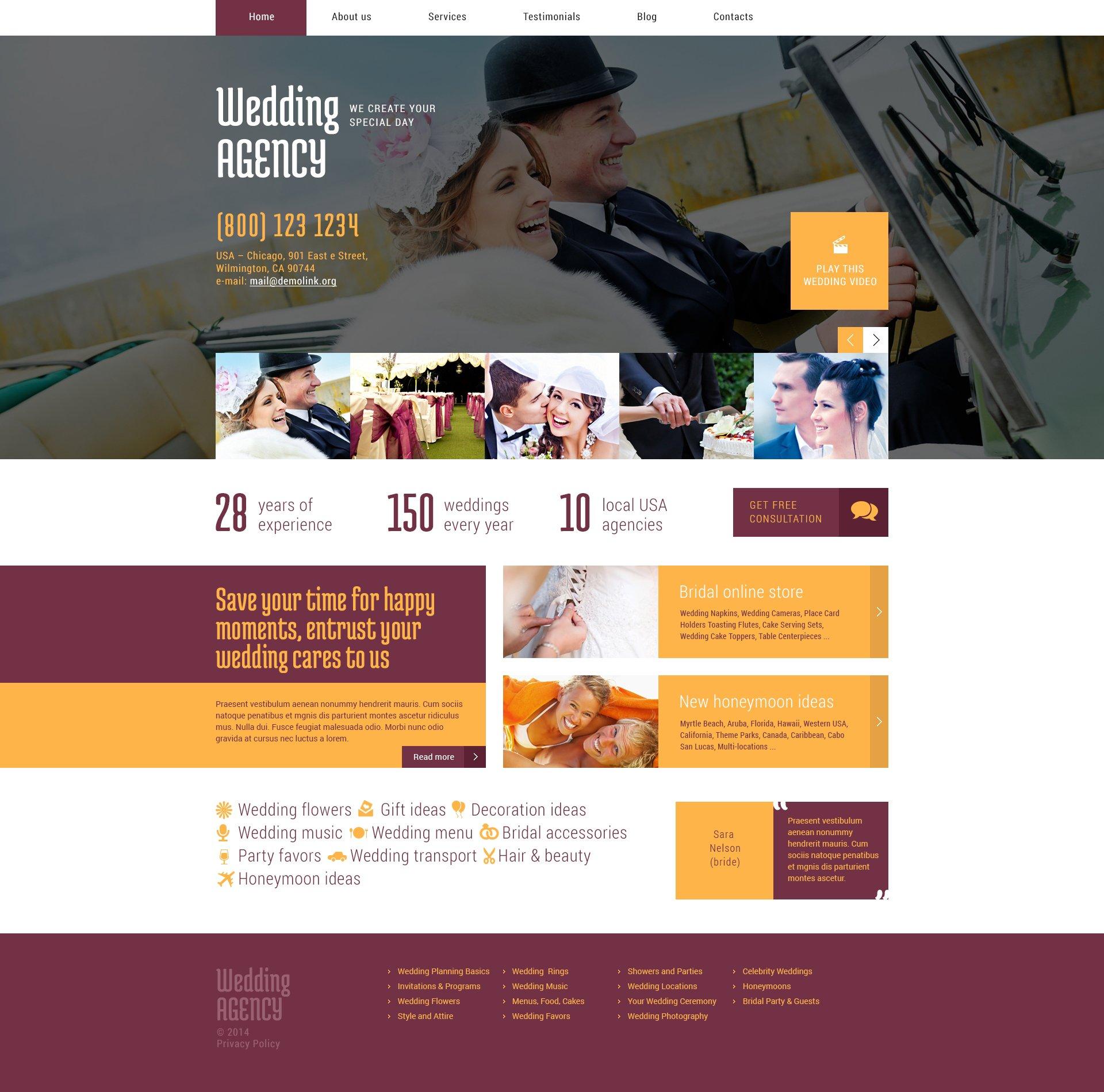 Адаптивний WordPress шаблон на тему організатор весілля №49011