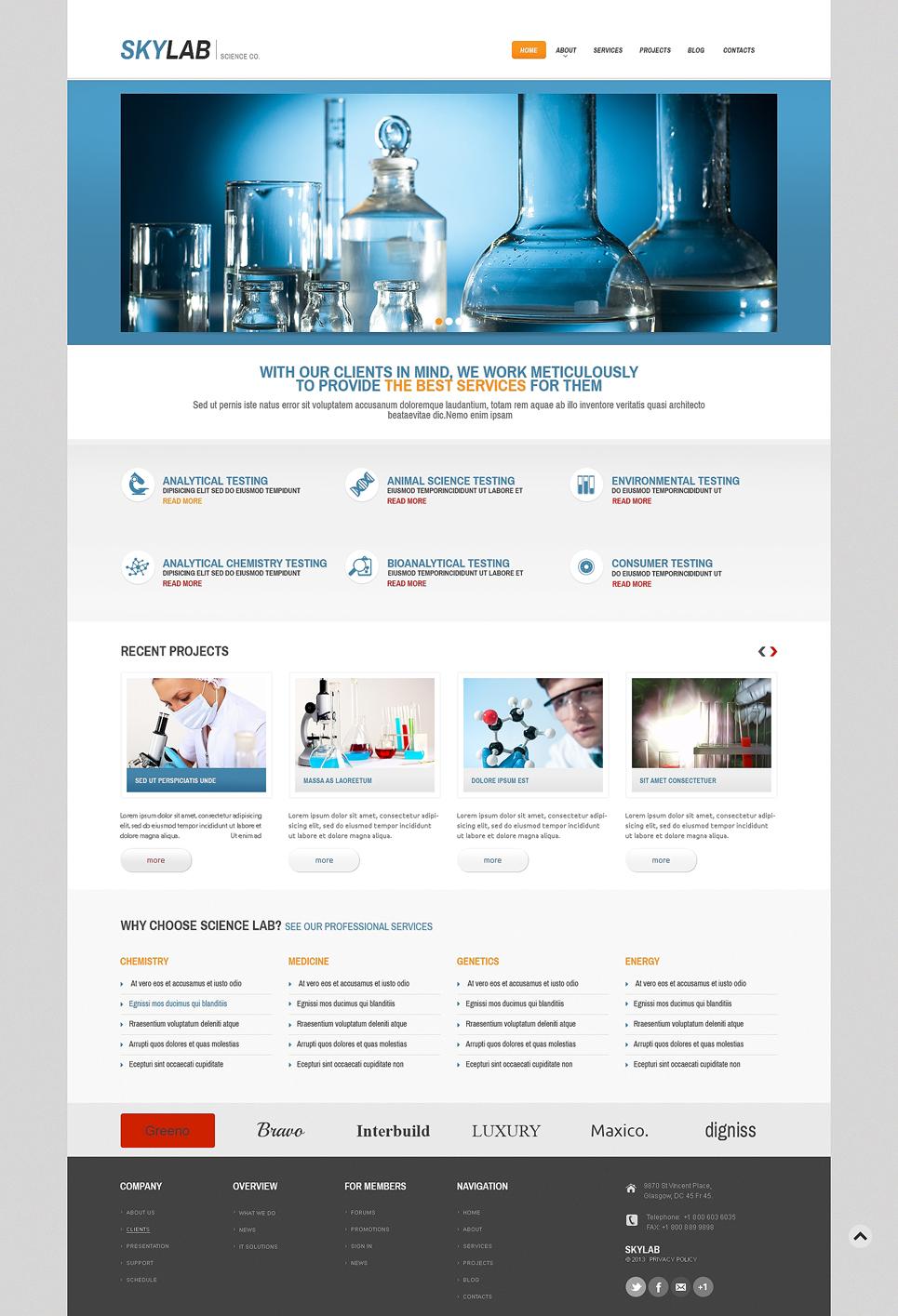 Адаптивный шаблон сайта на тему научная лаборатория #49002