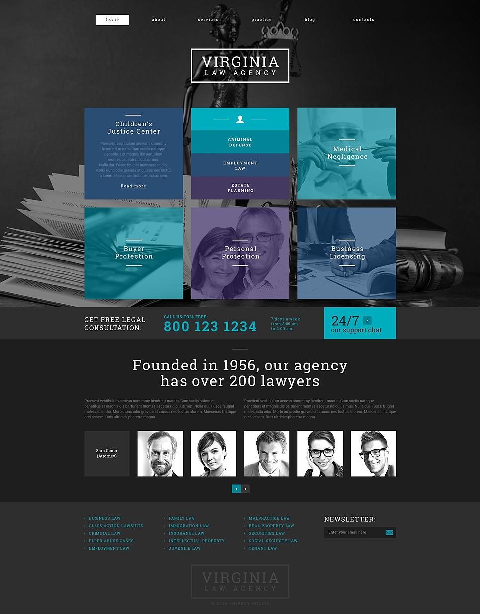 Адаптивный шаблон сайта на тему юридическая фирма #49007