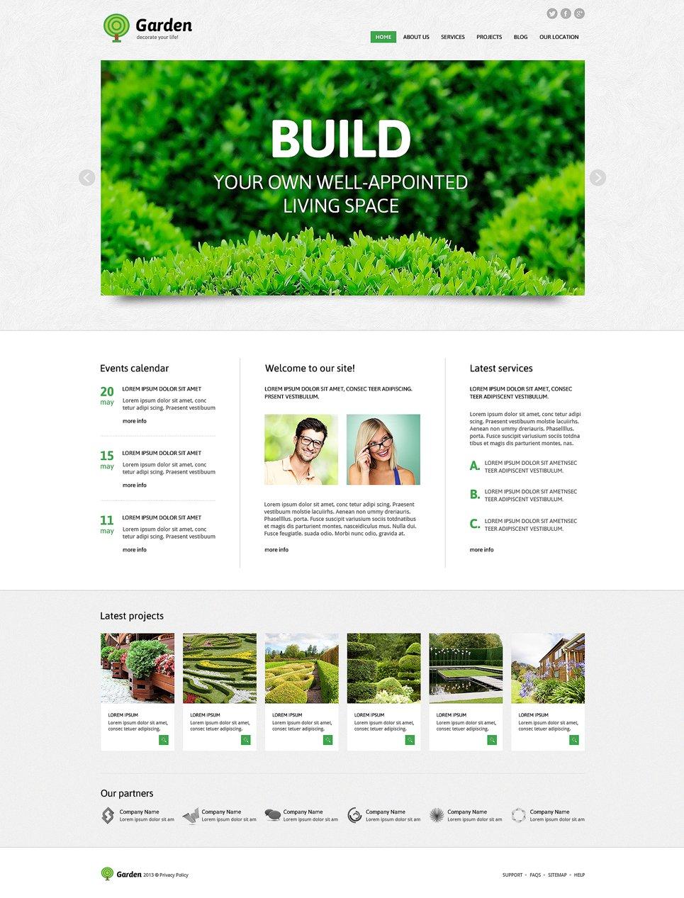 Адаптивный шаблон сайта на тему садовый дизайн #49008