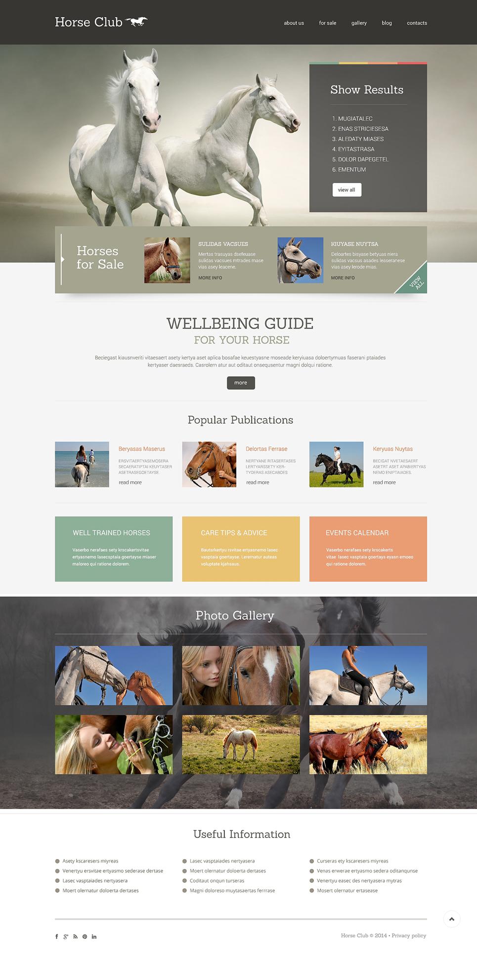 Адаптивный шаблон сайта на тему лошади #49010