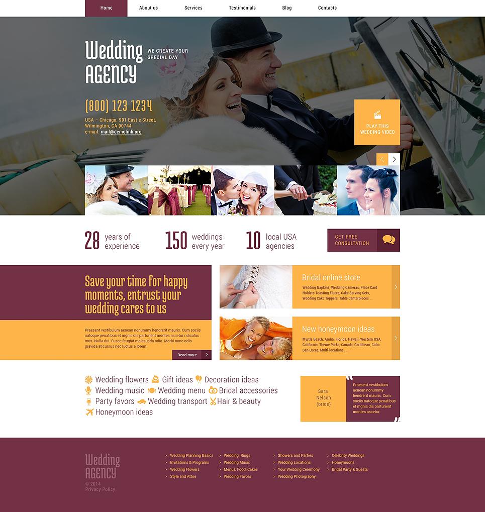Адаптивный шаблон сайта на тему организация свадьбы #49011