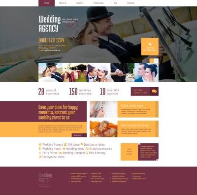 Адаптивный WordPress шаблон №49011 на тему организация свадьбы