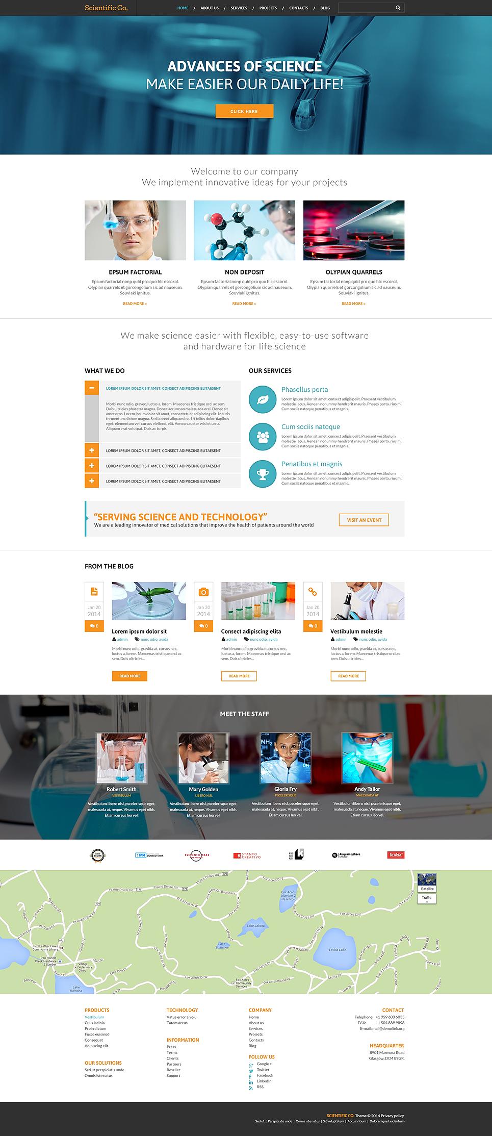 Адаптивный шаблон сайта на тему научная лаборатория #49082