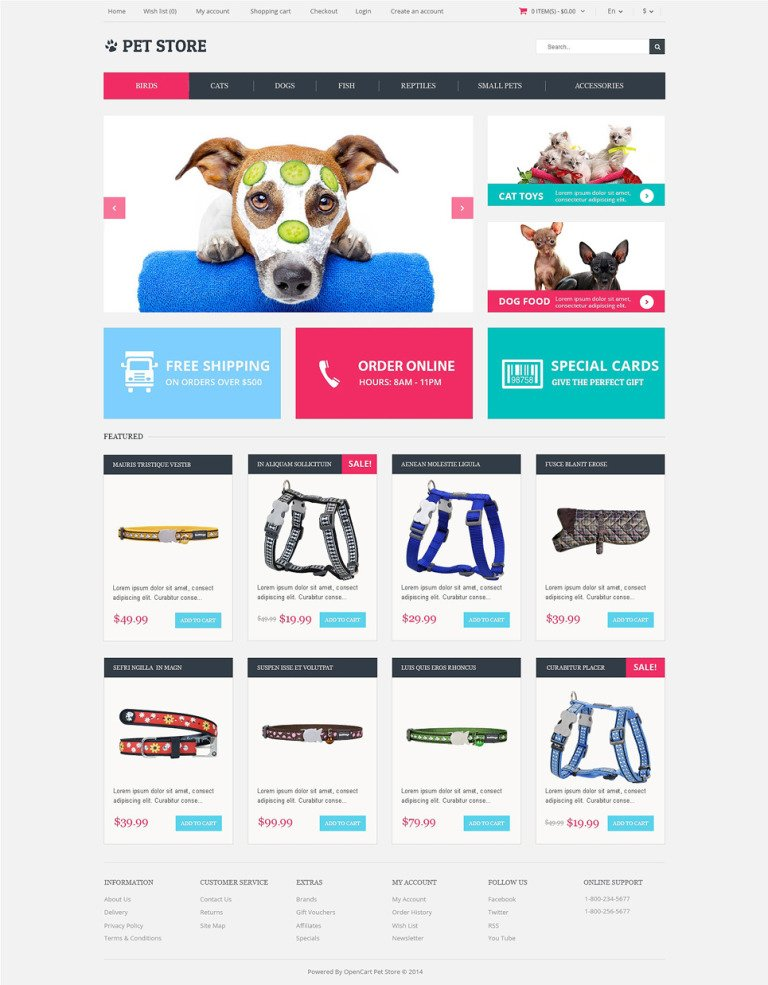 Animals Pets OpenCart Template New Screenshots BIG