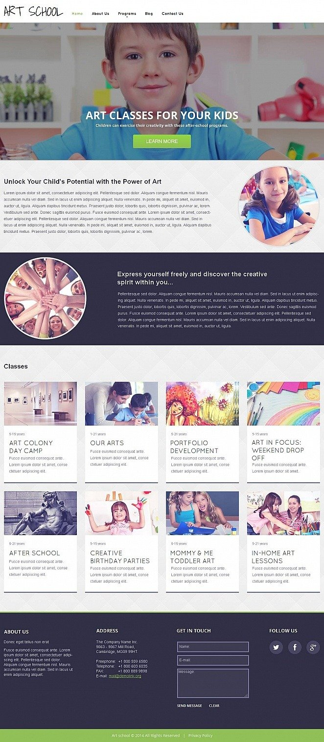 Art School Moto CMS HTML Template New Screenshots BIG