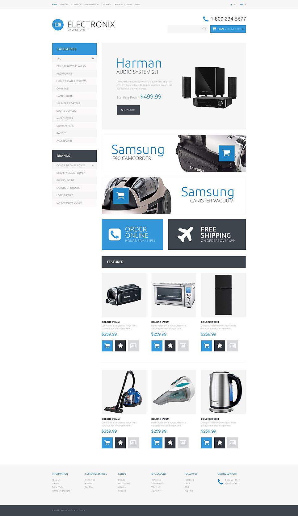 Electronic Appliances OpenCart Template New Screenshots BIG