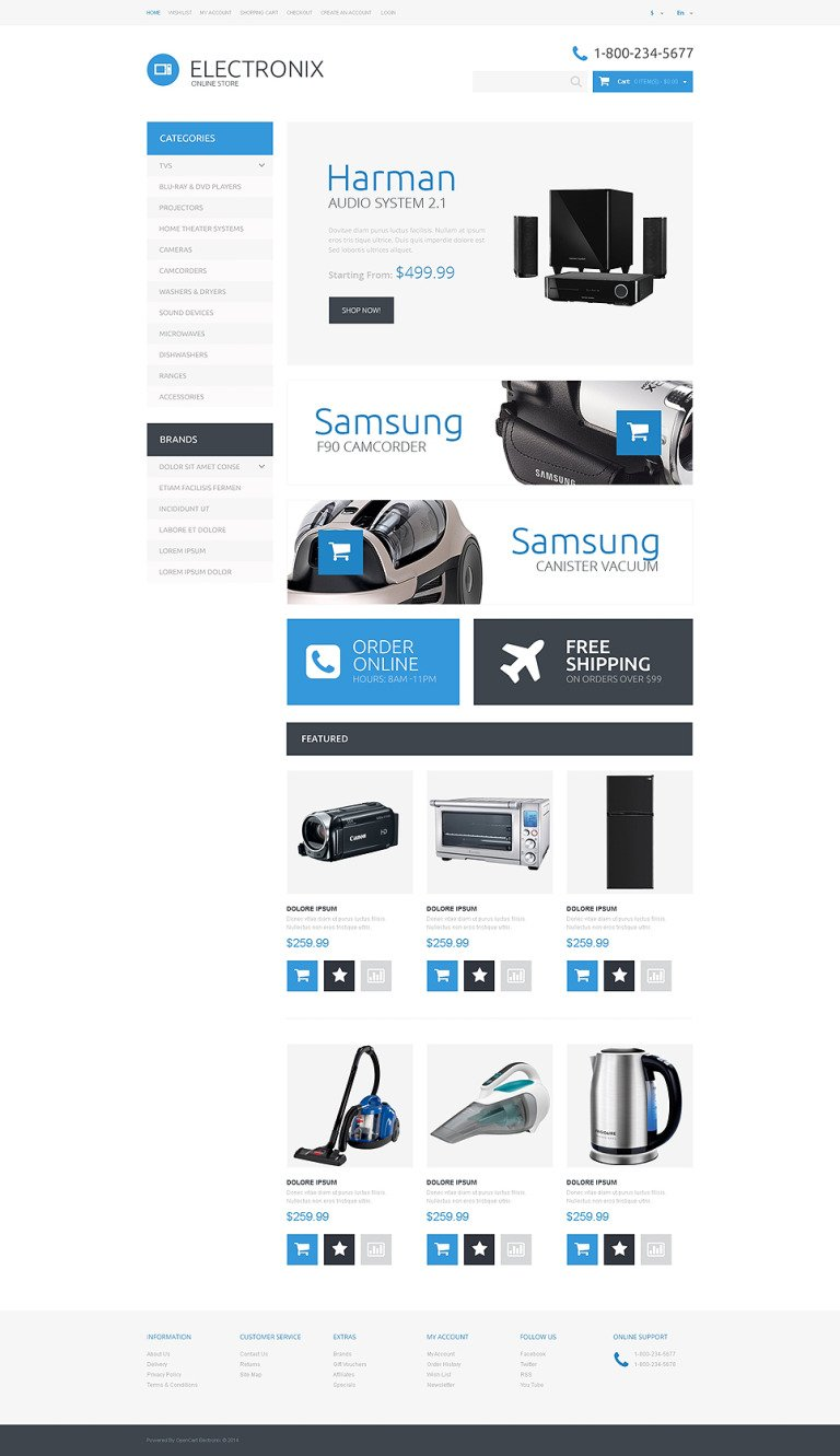 Electronic Appliances OpenCart Template New Screenshots BIG