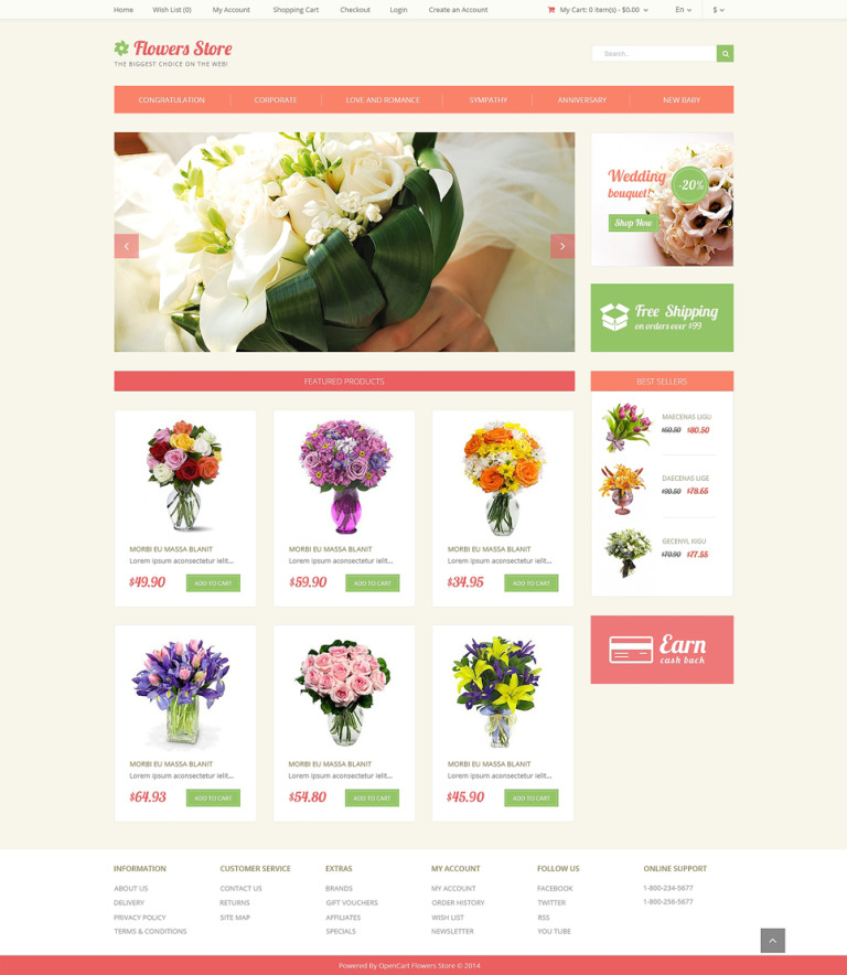 Flower Store OpenCart Template New Screenshots BIG