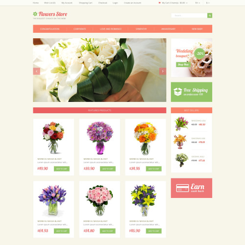 Flower Store - OpenCart Template based on Bootstrap