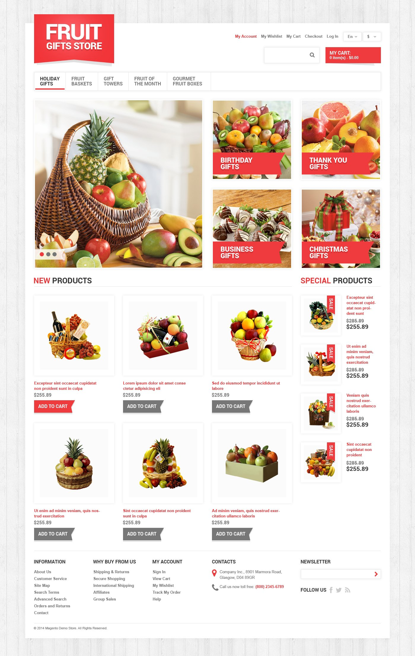 """Fruit Gifts Store"" - адаптивний Magento шаблон №49064"