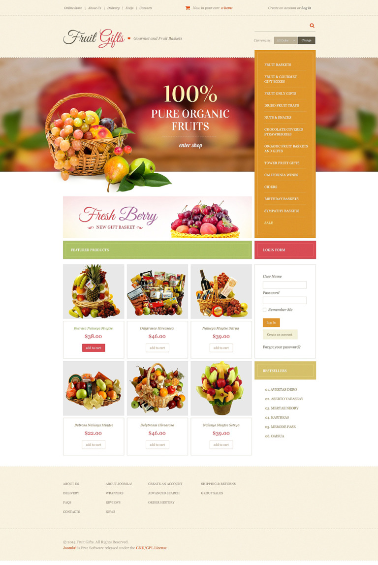 Fruit Gifts VirtueMart Template New Screenshots BIG