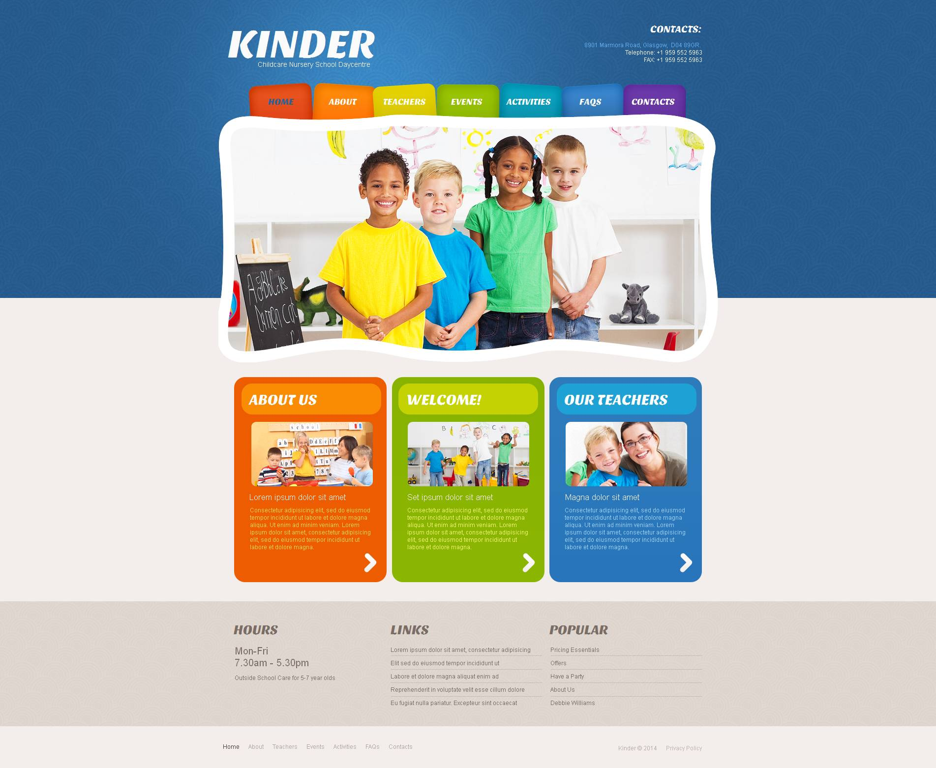 Kids Center Moto CMS HTML Template