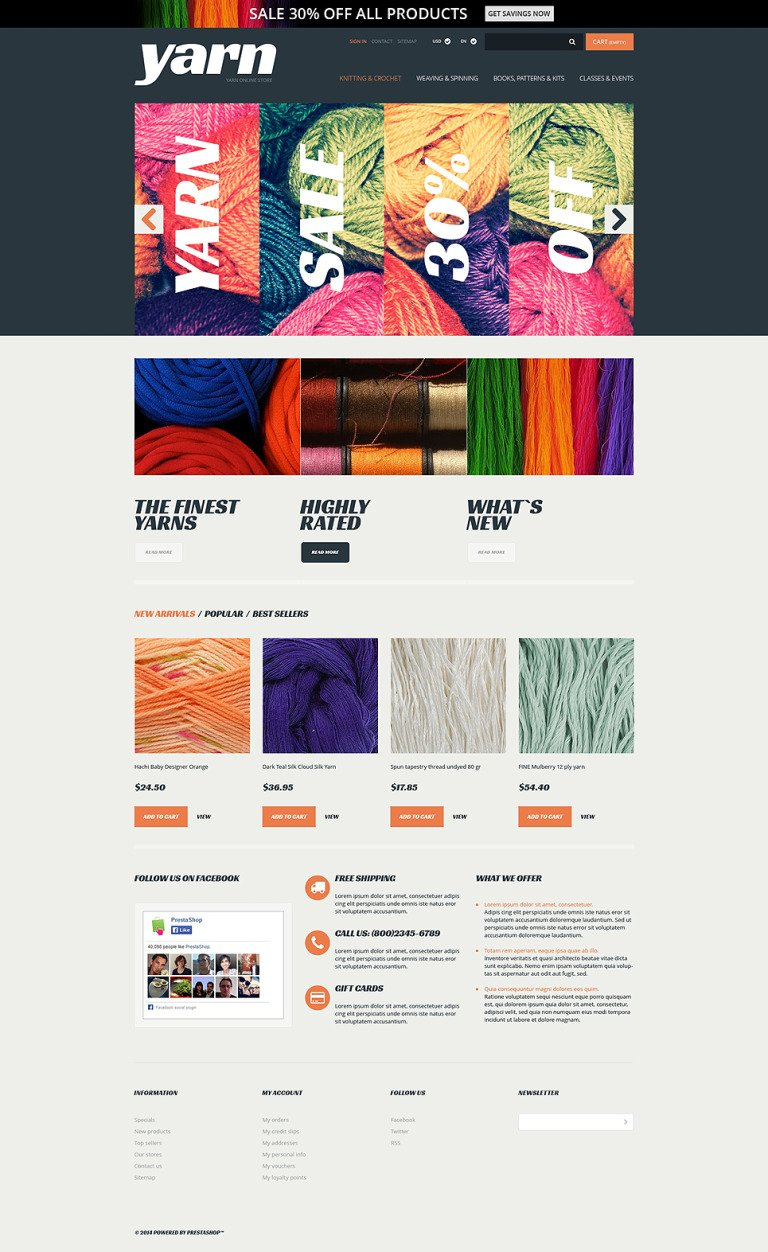 Knit Crochet Supplies PrestaShop Theme New Screenshots BIG