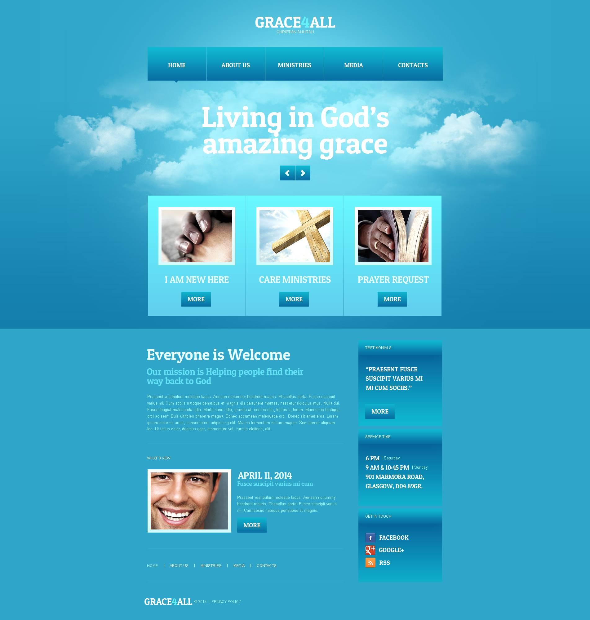 Modèle Moto CMS HTML Premium pour site chrétien #49038