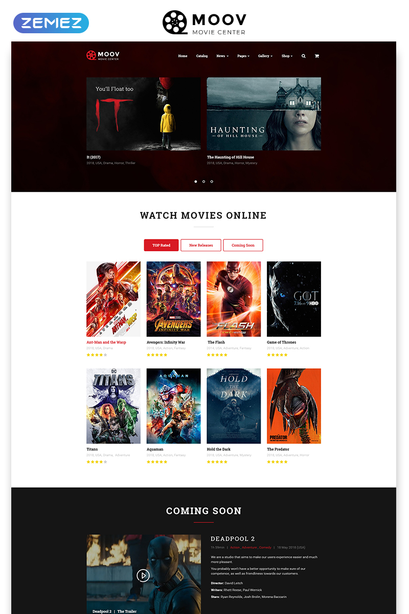 """MOOV - Movie Center Multipage Classic HTML"" modèle web adaptatif #49053"