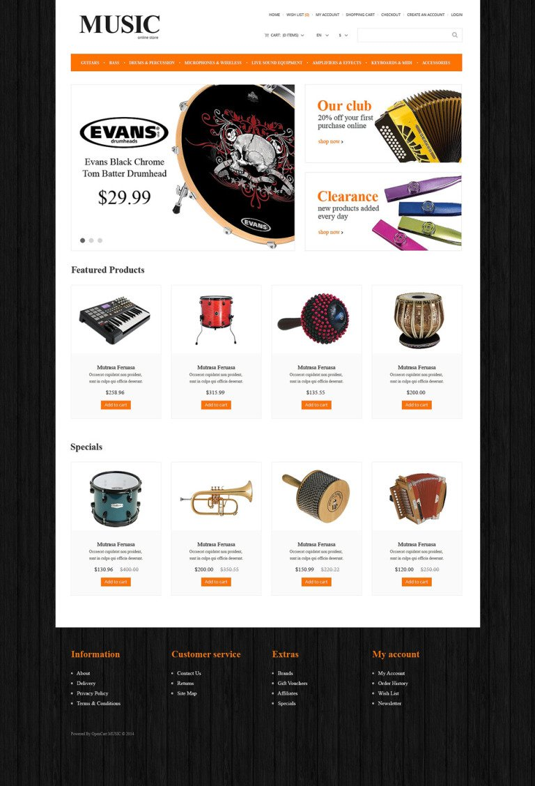Music Store Responsive OpenCart Template New Screenshots BIG