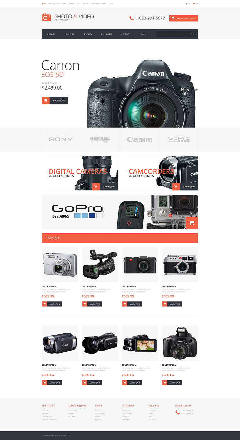 Photo and Video Store OpenCart Template New Screenshots BIG
