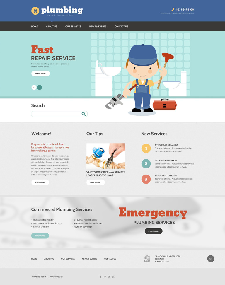 Plumbing Drupal Template New Screenshots BIG