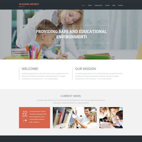 Us School District - WordPress Template based on Bootstrap