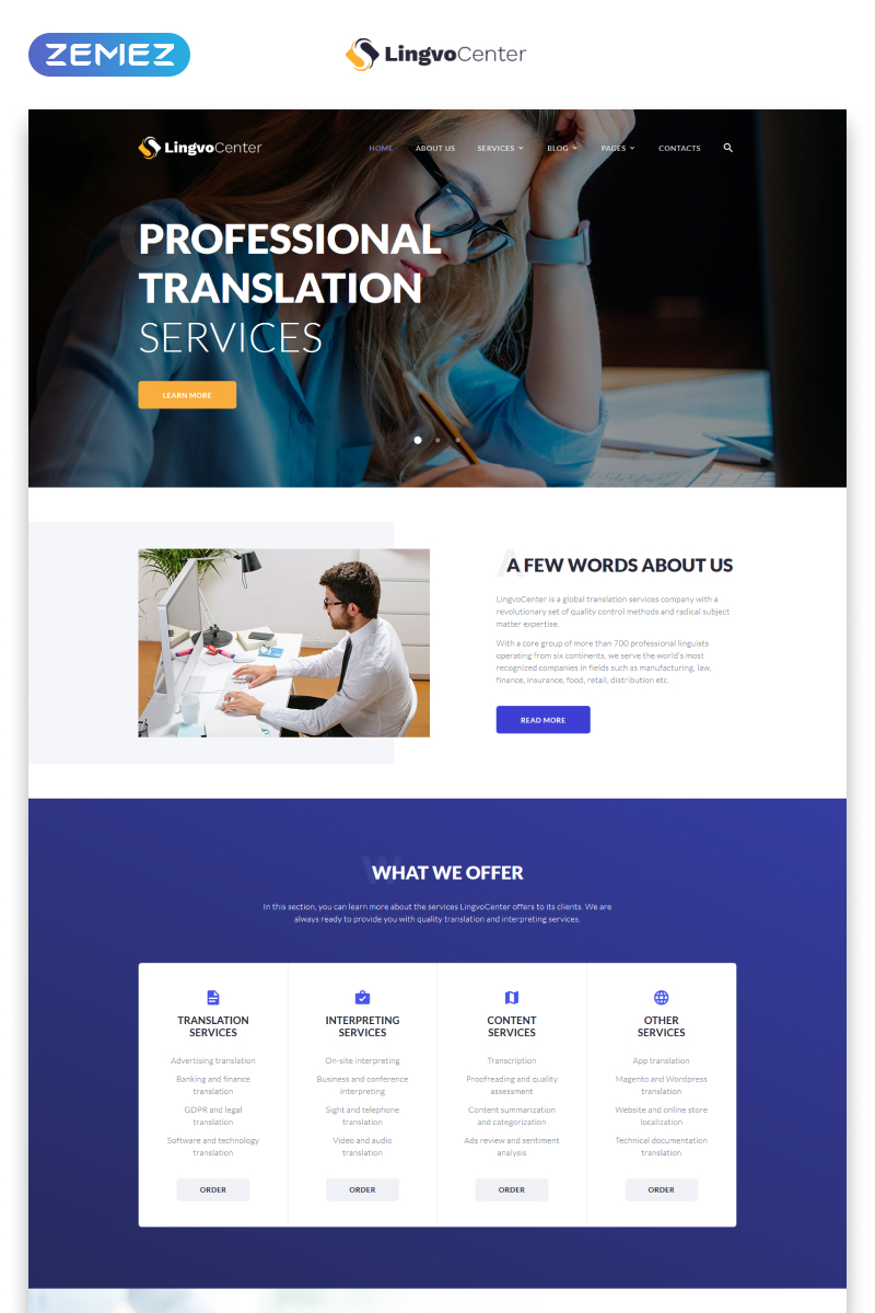 Responsivt Lingvo Center - Translation Bureau Classic Multipage HTML Hemsidemall #49017
