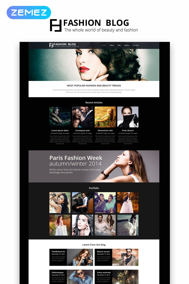 Responsywny szablon Joomla Fashion Blog - Fashion Blog Elegant #49094