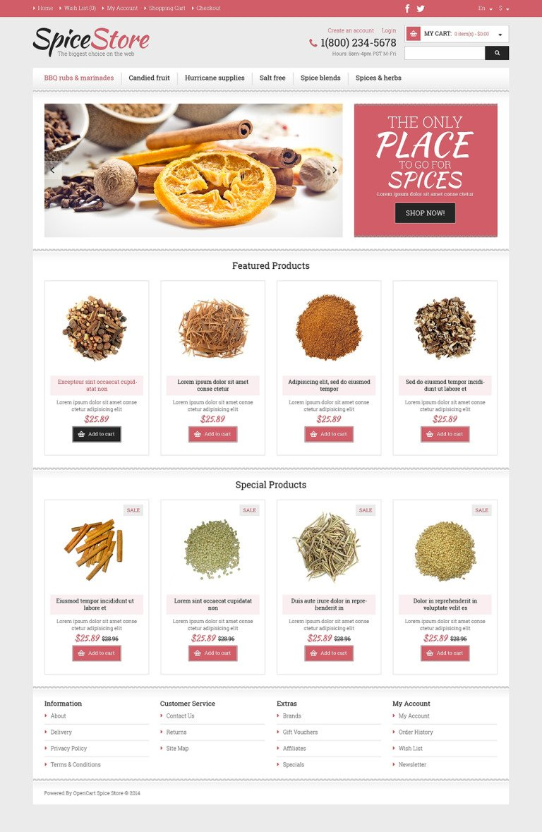 Spice Shop Responsive OpenCart Template New Screenshots BIG