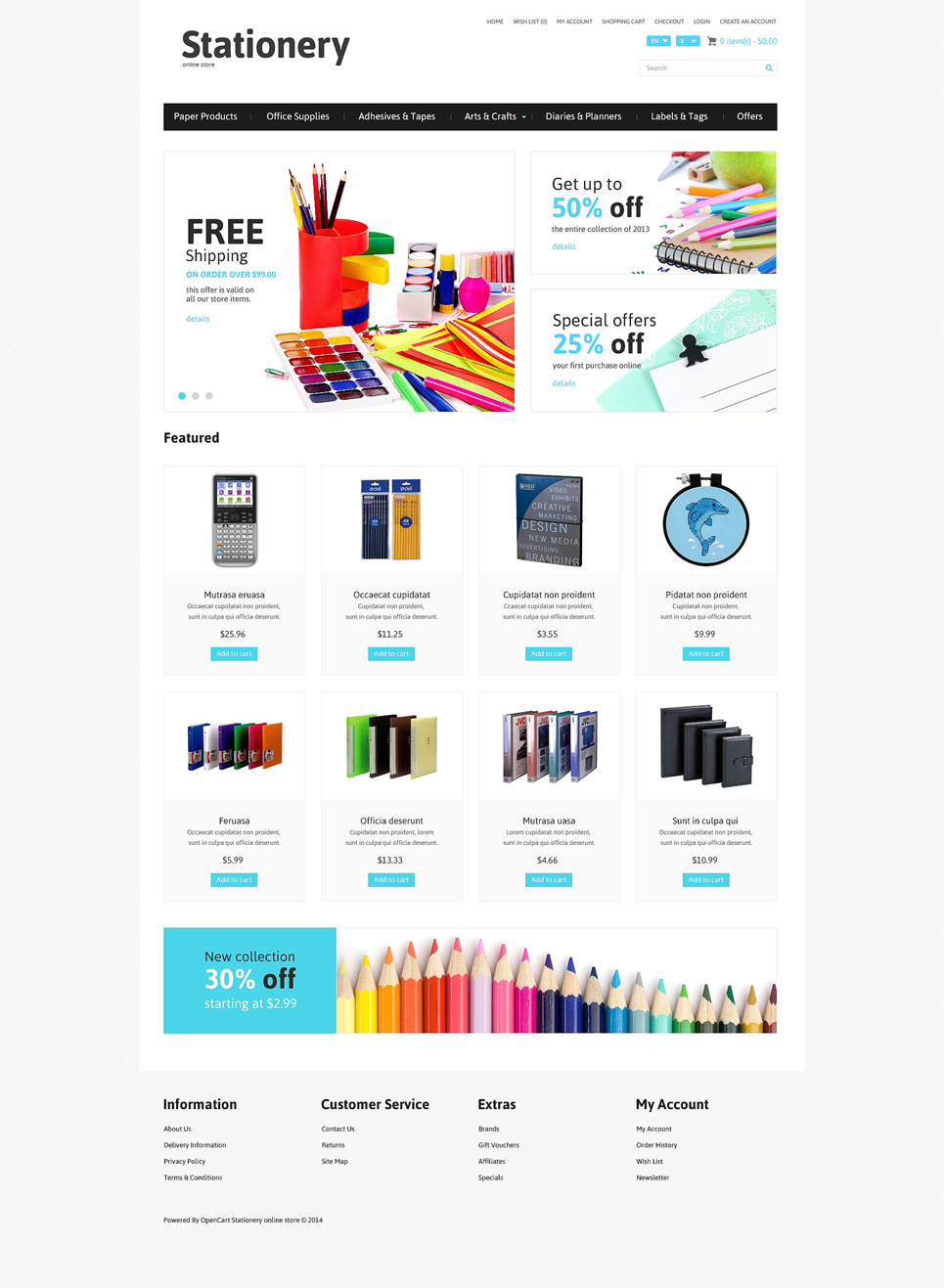 Stationery Responsive OpenCart Template 49050