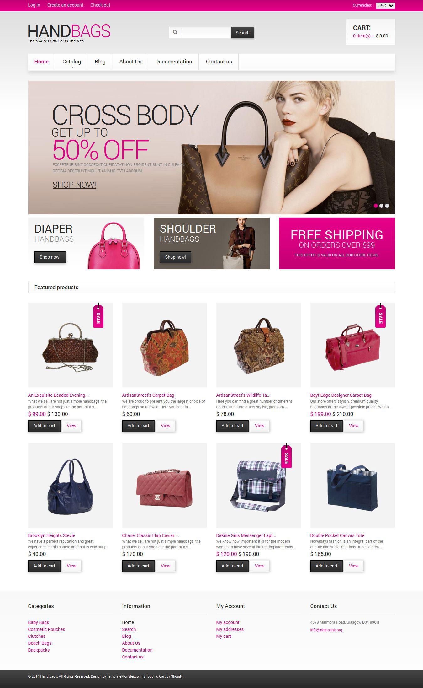 Tema Shopify Responsive #49056 per Un Sito di Borse
