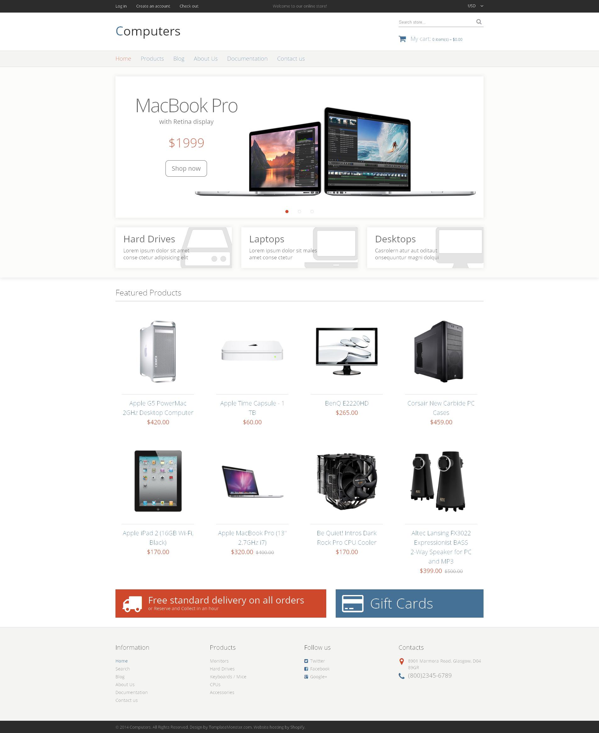 Tema Shopify Responsive para Sitio de Tienda de Ordenadores #49047
