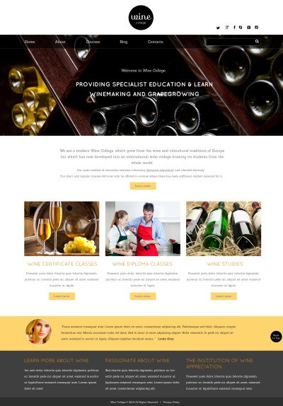 Wine Responsive Template Siti Web