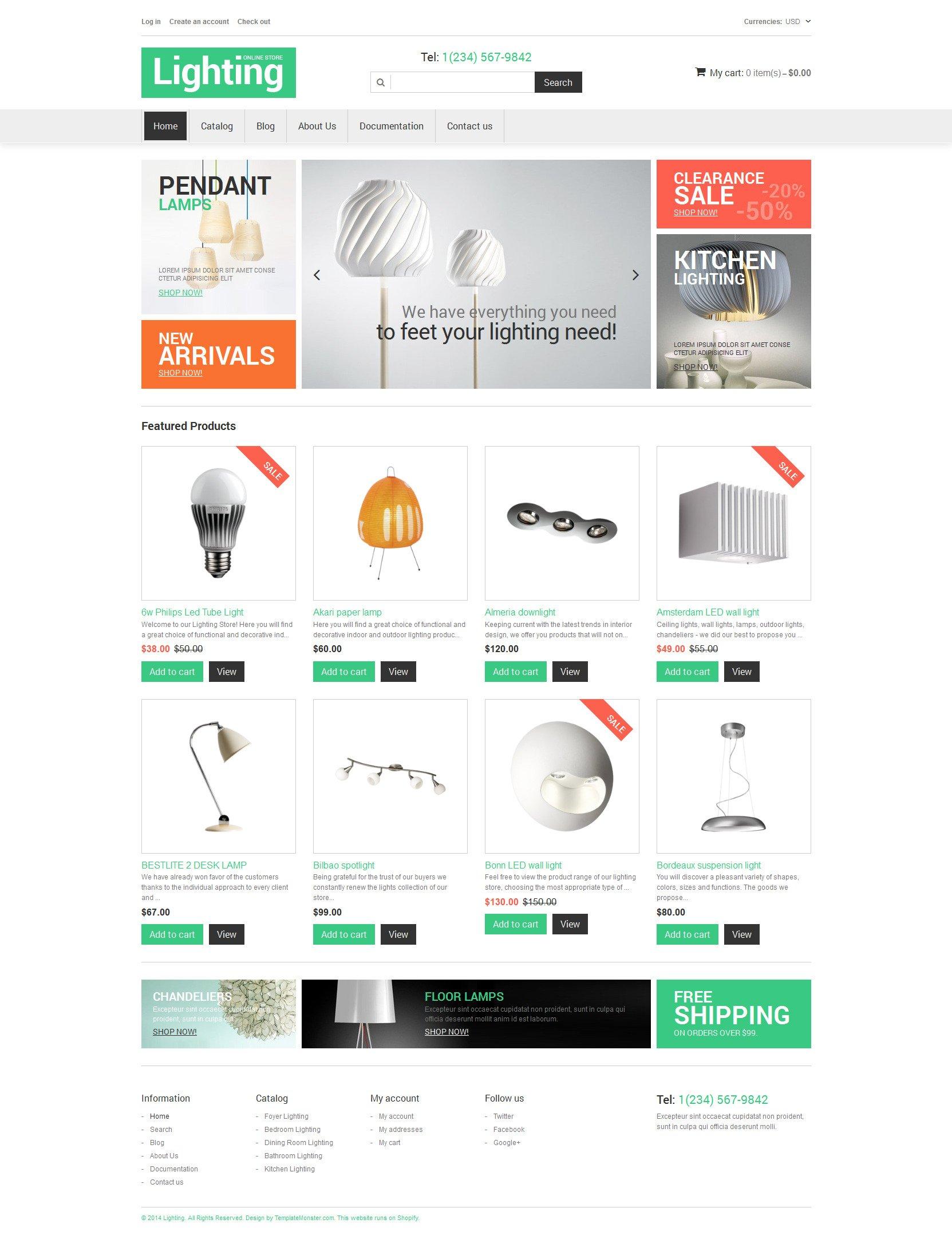 Template Shopify Responsive #49066 per Un Sito di Design di Interni