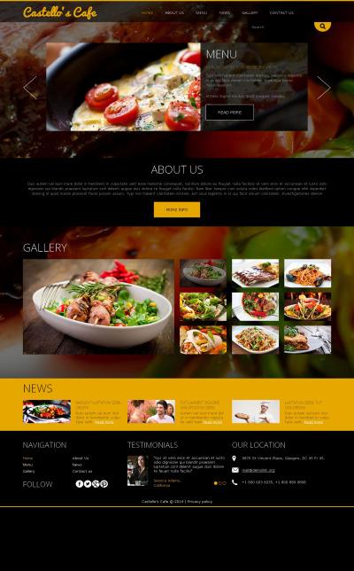 Thème Joomla adaptatif  pour site de café et restaurant