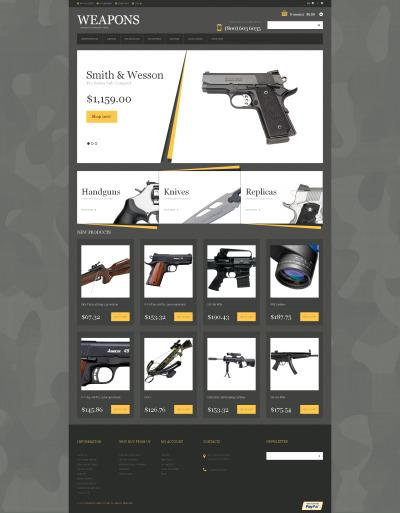 Thème Magento adaptatif  pour boutique d'armes à feu