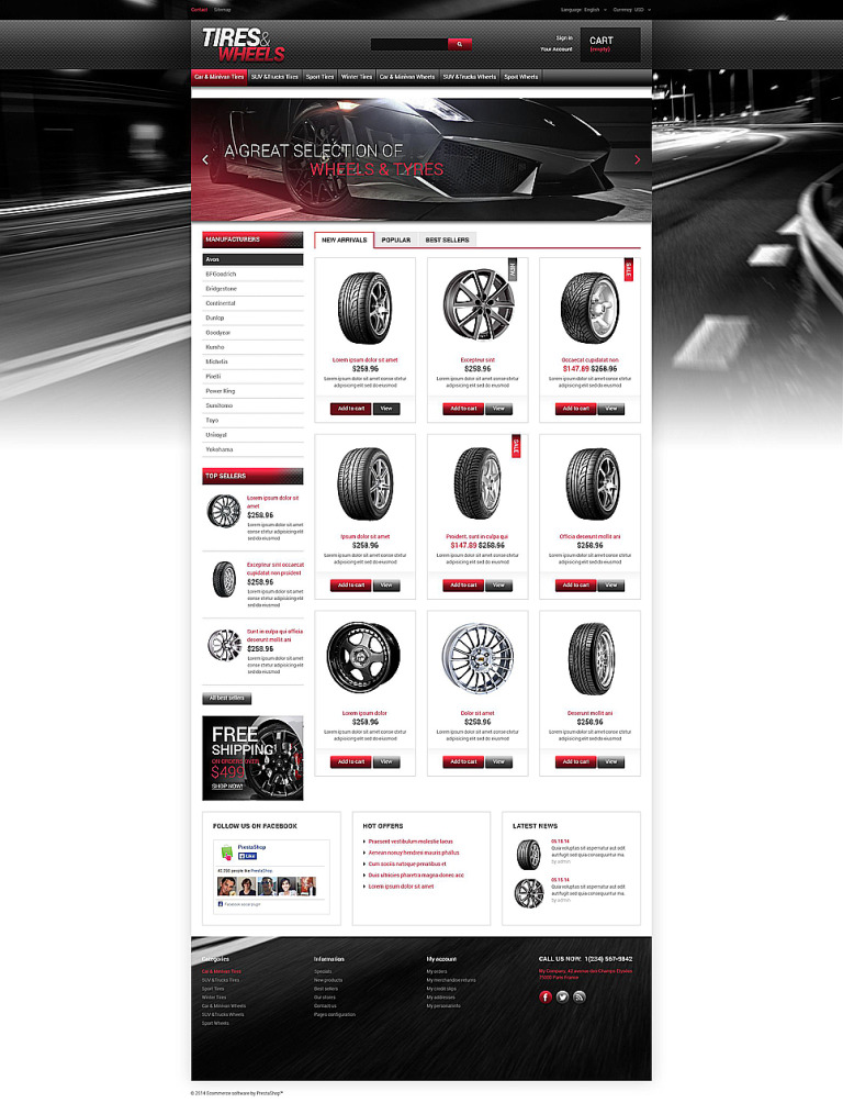 Tires Wheels for Autos PrestaShop Theme New Screenshots BIG