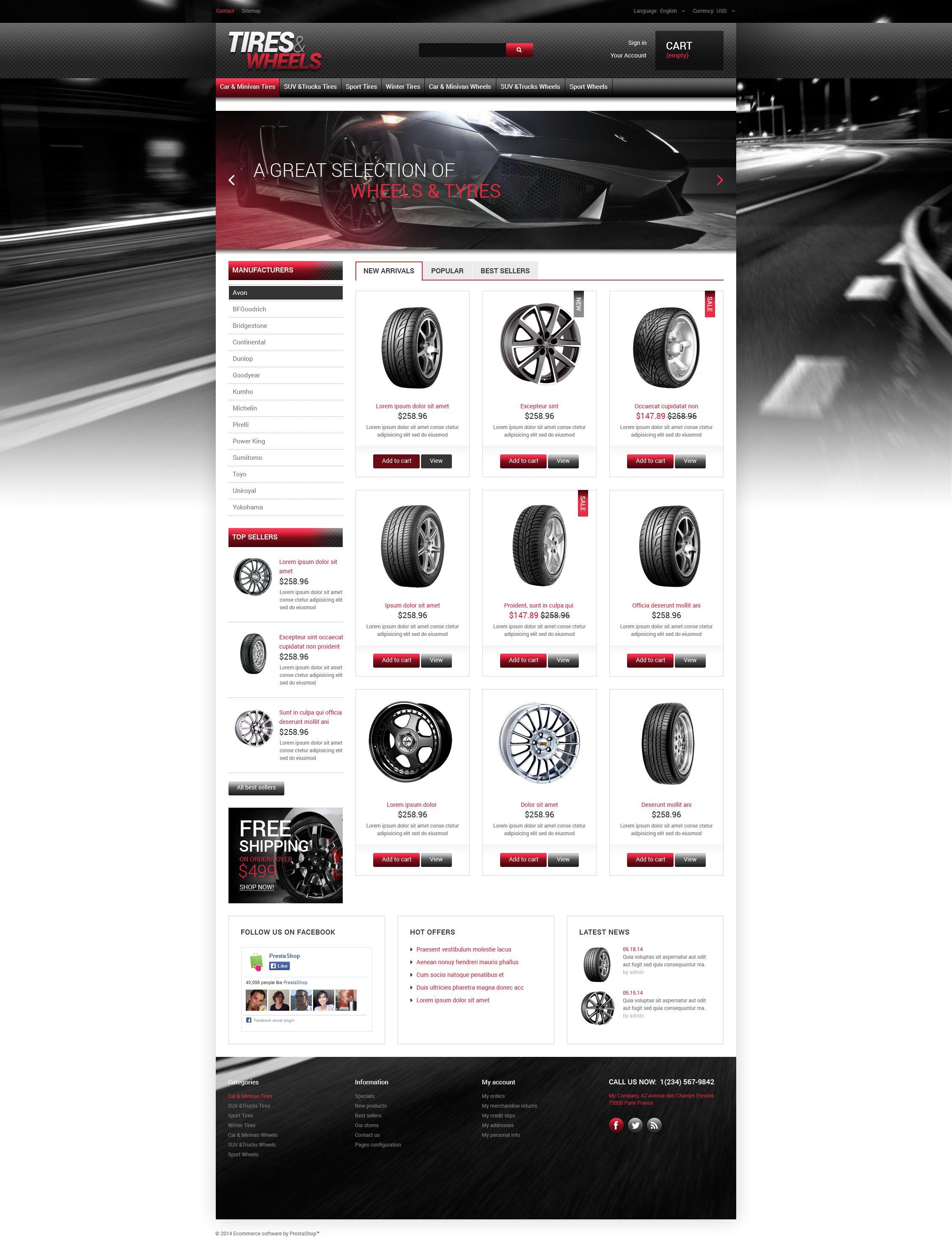 Tires  Wheels for Autos PrestaShop Theme - screenshot