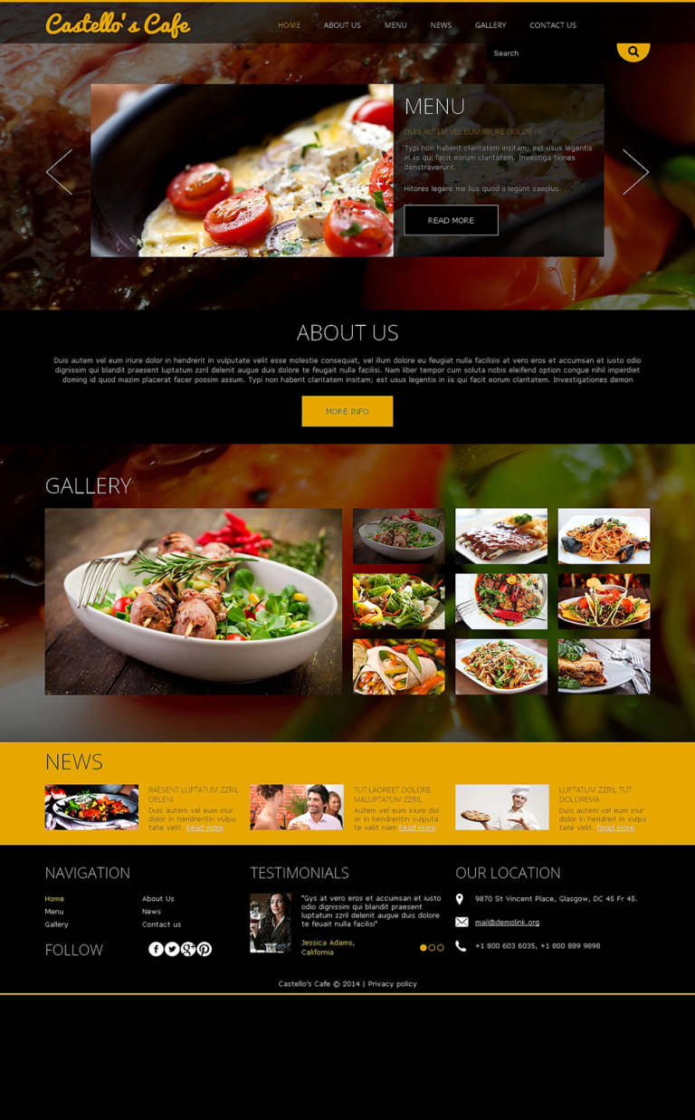Your Restaurant Joomla Template New Screenshots BIG