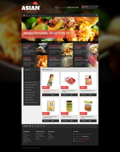 Japansk restaurang Magento-tema