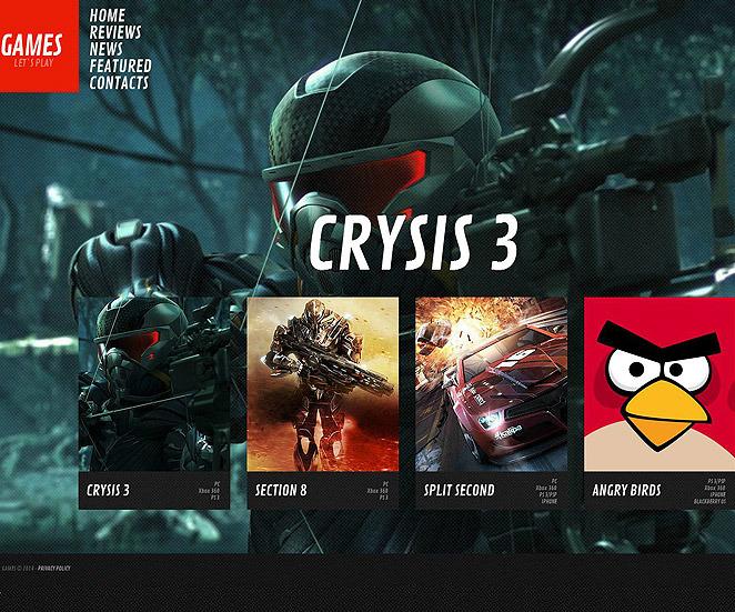 MotoCMS HTML шаблон на тему ігри New Screenshots BIG