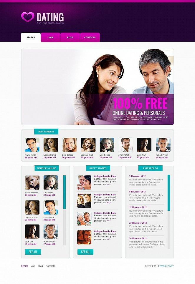 Dating Service Website Template with Purple Header - image