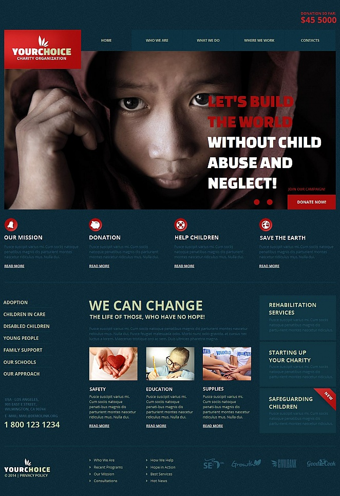 Blue Website Template for Charity - image