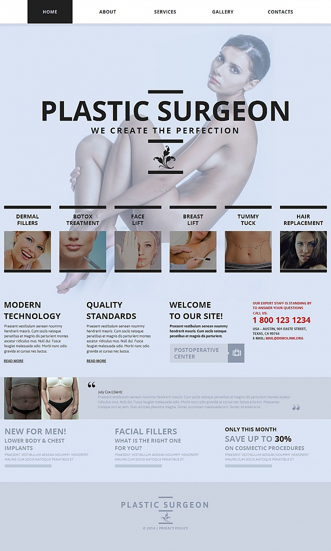 Plastic Surgery Website Template with Photo Gallery - image