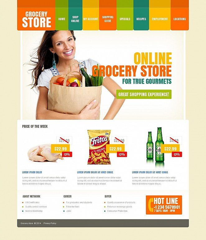Grocery Website Template with Varicolored Menu Bar - image